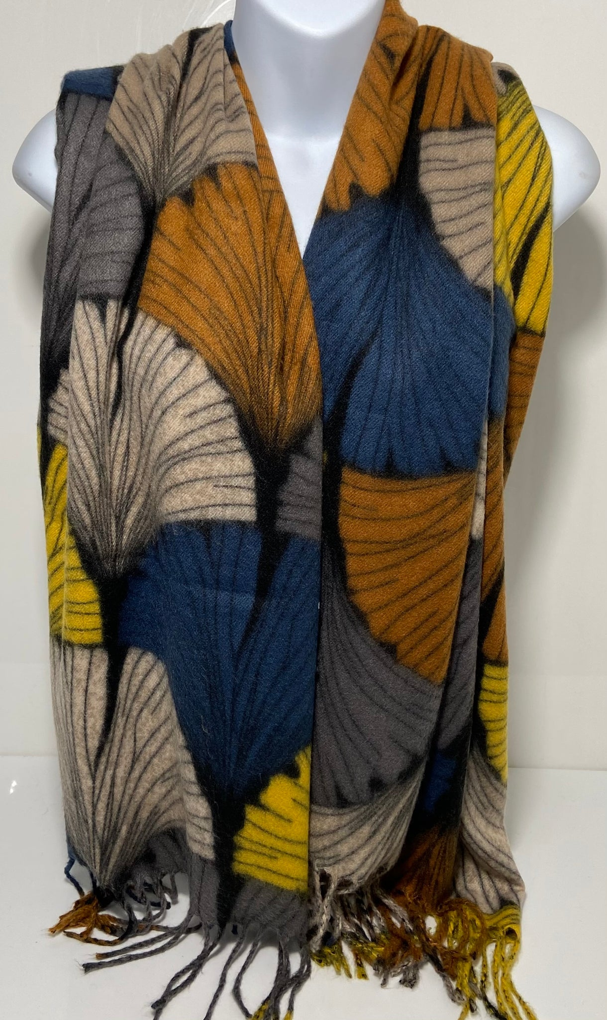 Super soft winter shell design scarf in navy/mustard/tan/beige