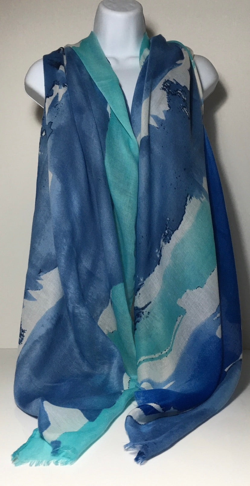 Paint splash print scarf in shades of aqua, blue and grey