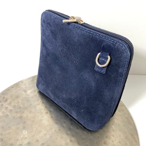 Navy cross-body suede bag