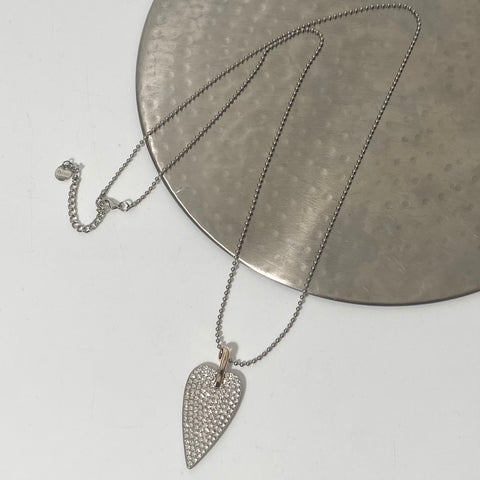 Long necklace, with diamanté glitter heart pendant