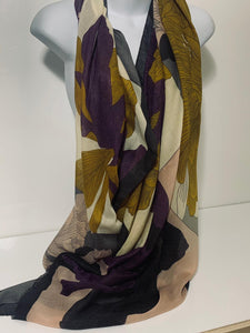 Purple, pink, mustard and grey peony print scarf
