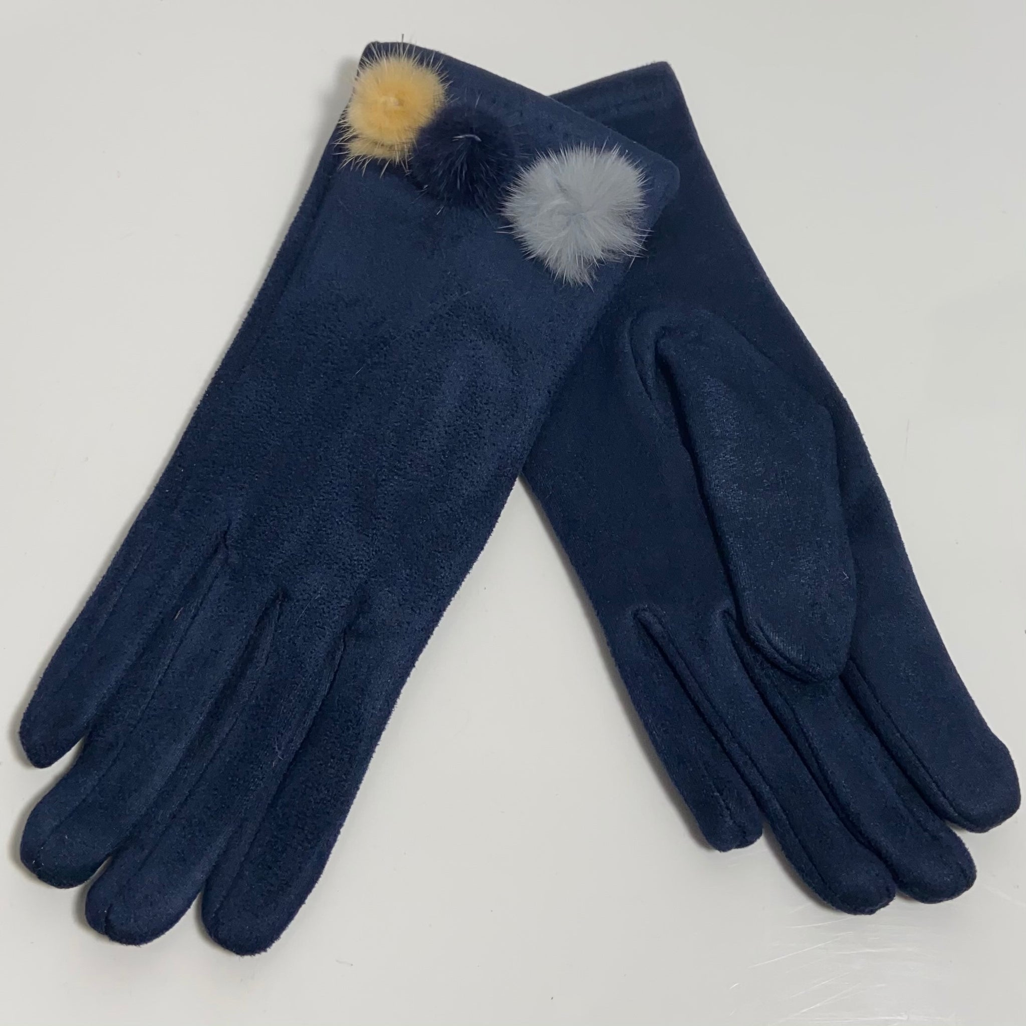 Navy tri pom-pom faux fur gloves