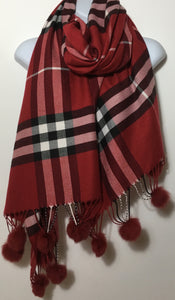 Red checked cashmere & cotton blend scarf with pom poms