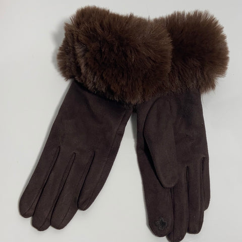 Brown Faux Fur Cuff Gloves