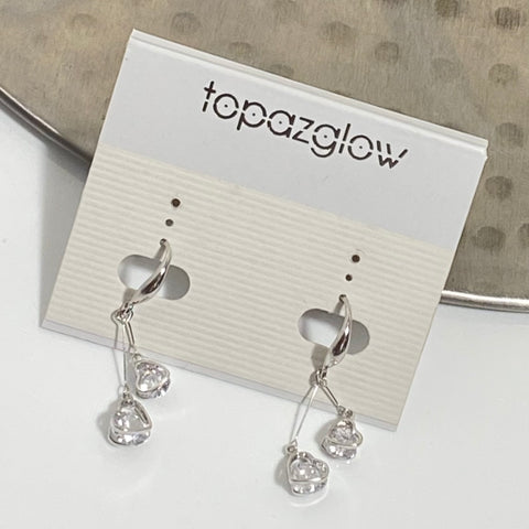 Cubic zirconium crystal double drop earrings