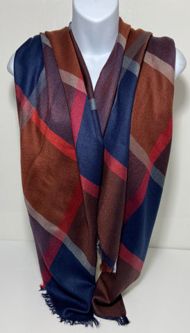 Super soft checked design scarf in maroon and navy