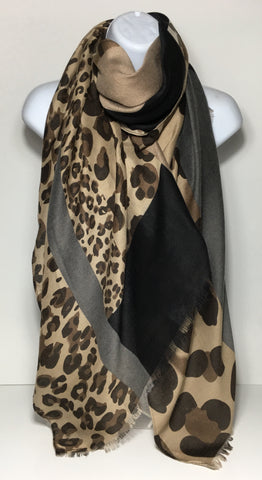 Grey, black and brown animal-print scarf