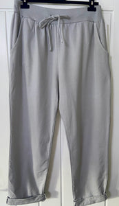 Cotton draw-string joggers in grey