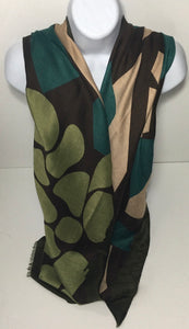 Olive, teal and brown animal print scarf