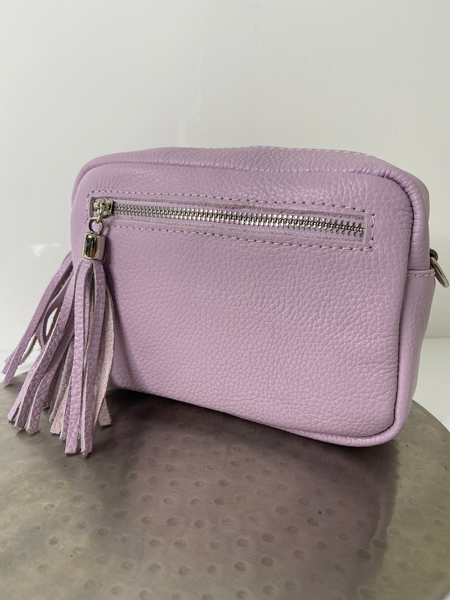 Pink cross-body/shoulder leather handbag