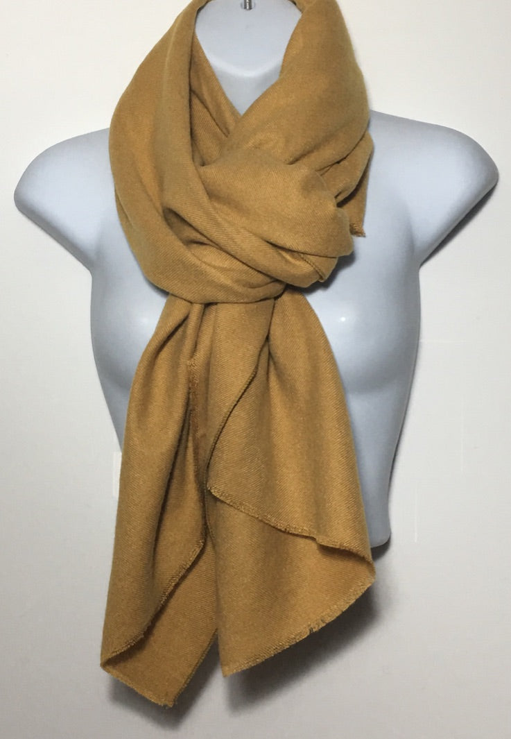 Super soft mustard plain edge scarf