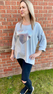 Cotton silver heart-shaped sequin top