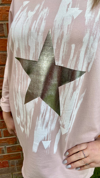 Cotton foil star top in pink