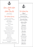 Nautical Anchor Wedding Program