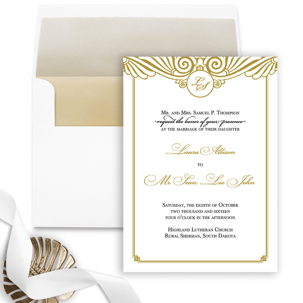 Art Deco Wedding Invitations.Art Deco Wedding Invitation Flat Printing Sample