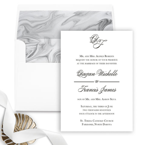 Initials Monogram Wedding Invitation - Flat Printing - Sample