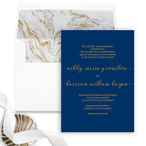 Bold Gold and Navy Wedding Invitation - Flat Printing - Sample