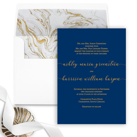 Bold Gold and Navy Wedding Invitation - Flat Printing