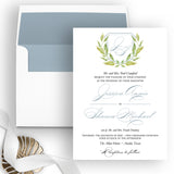 Botanical Monogram Wedding Invitation - Flat Printing - Sample