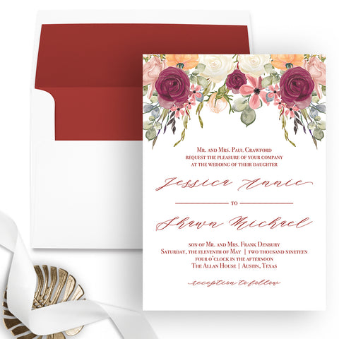 Burgundy Floral Wedding Invitation - Flat Printing - Sample
