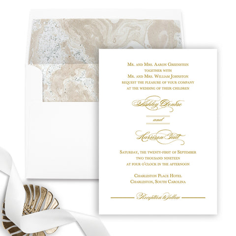 Charleston Wedding Invitation - Flat Printing - Sample