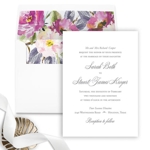 Simple Elegant Wedding Invitation - Flat Printing - Sample