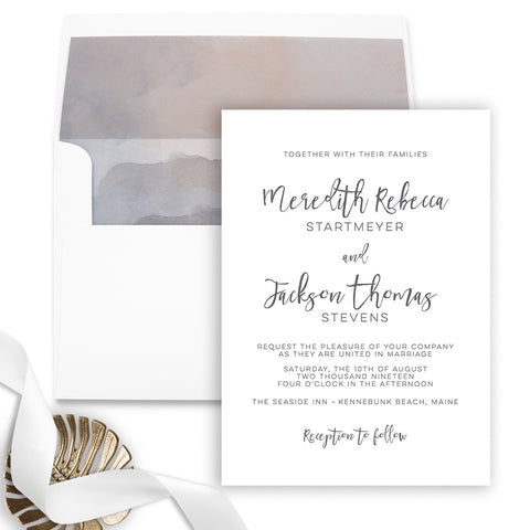Simple Modern Wedding Invitation - Flat Printing - Sample