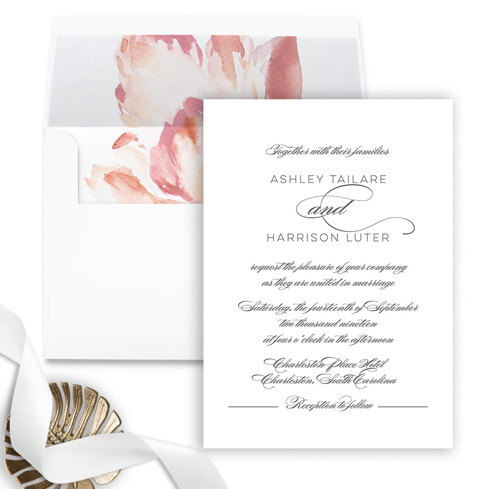 Elegant Grey Wedding Invitation - Flat Printing - Sample
