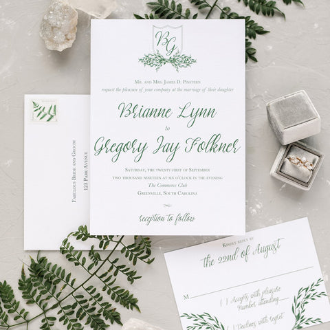 Leaf Wreath Wedding Invitation - Flat Printing