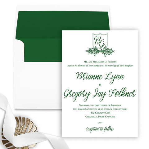 Leaf Wreath Wedding Invitation - Flat Printing - Sample