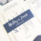 Modern Navy Wedding Invitation with Belly Band