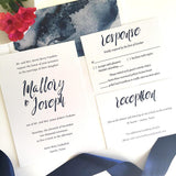 Navy and White Wedding Invitation