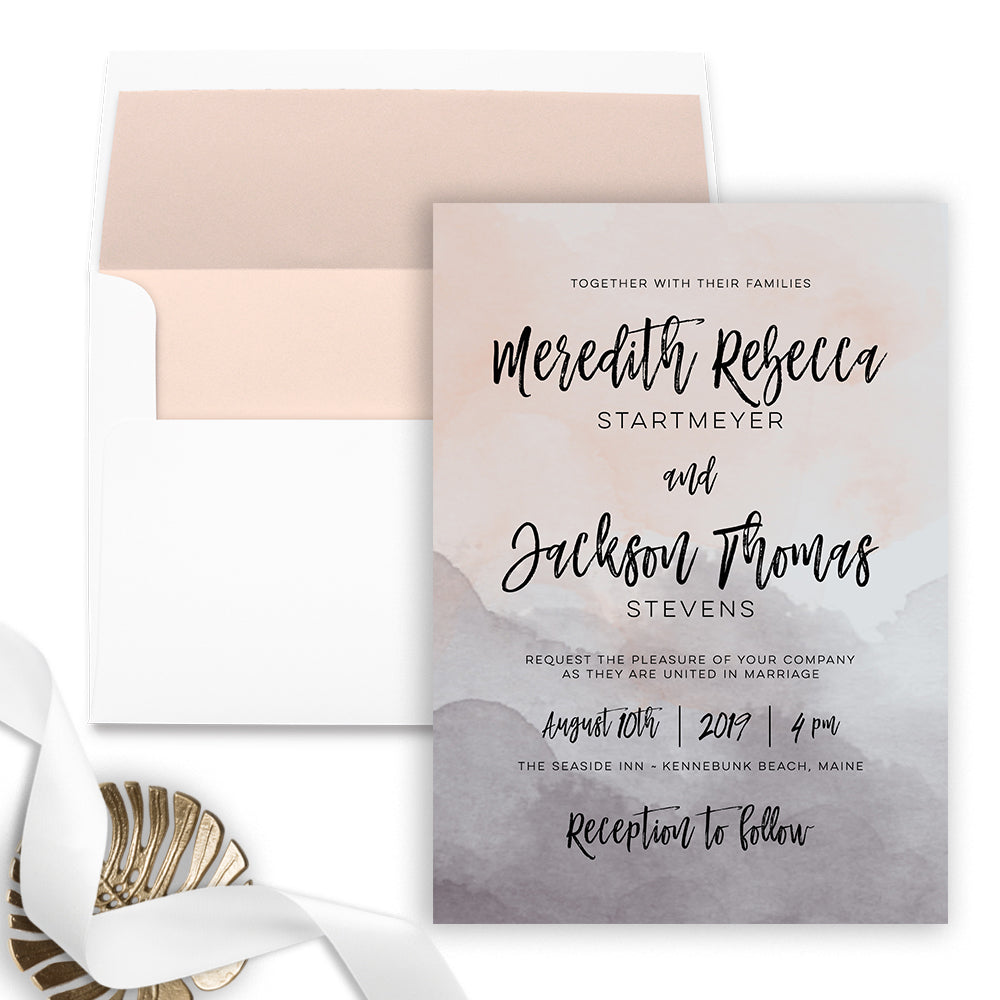 Pink Marble Wedding Invitation - Flat Printing