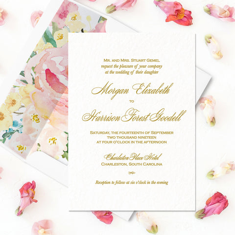 Simple Gold Wedding Invitation - Flat Printing