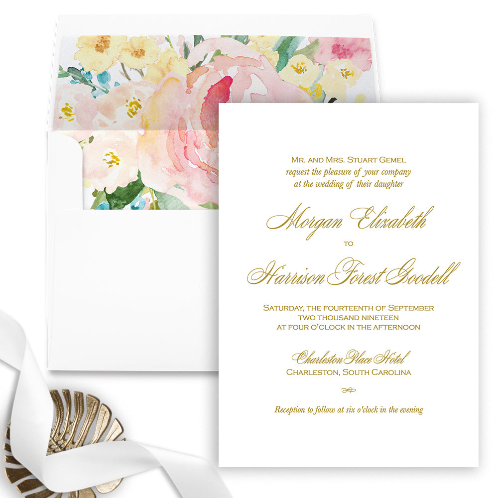 Simple Gold Wedding Invitation - Flat Printing - Sample