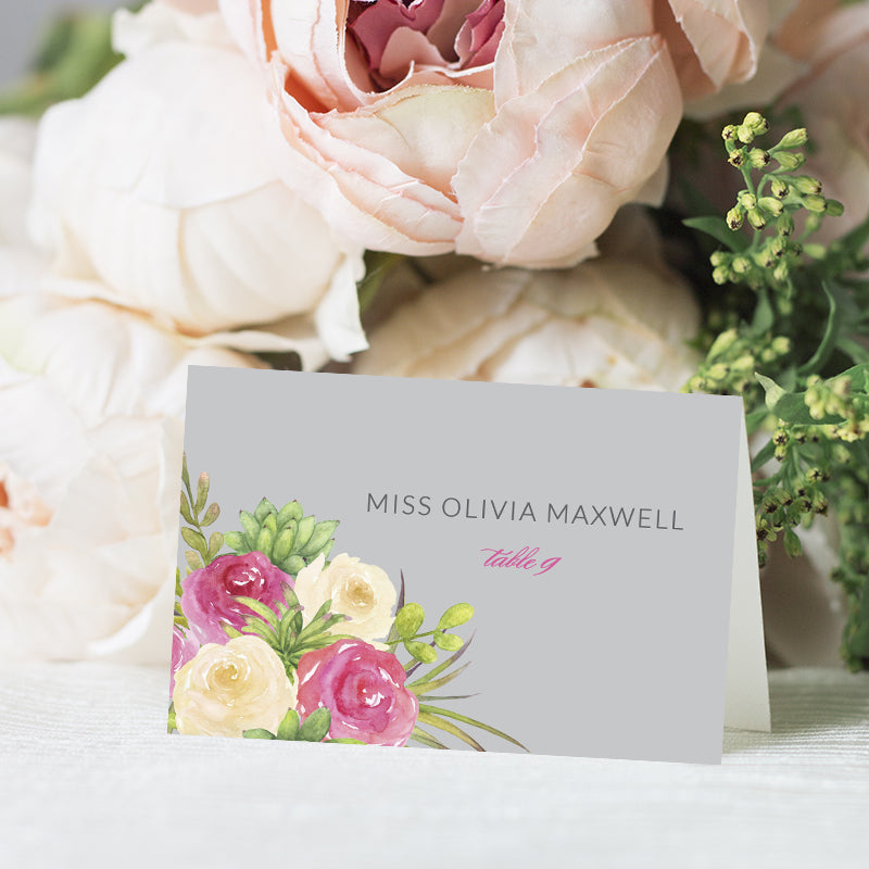 Pink Rose Watercolor Place Card