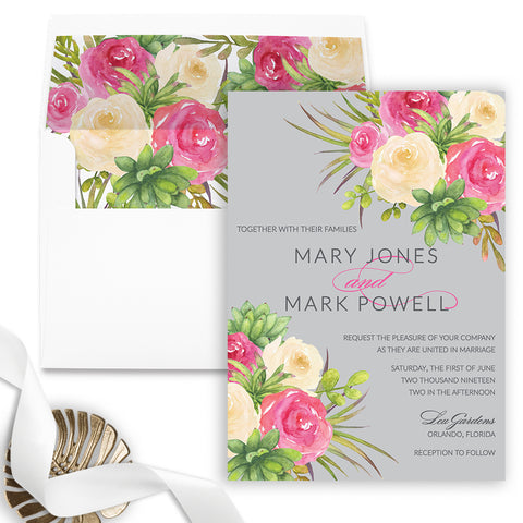 Rose Illustration Watercolor Wedding Invitation - Flat Printing - Sample