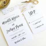 Brush Calligraphy Wedding Invitation - Flat Printing