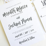 Brush Calligraphy Wedding Invitation - Flat Printing - Sample