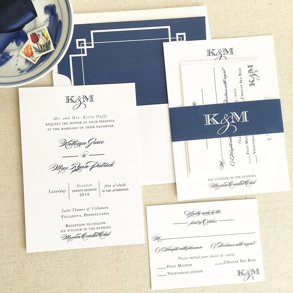 Modern Navy Wedding Invitation