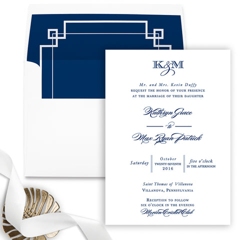 Kathryn Wedding Invitation - Flat Printing - Sample