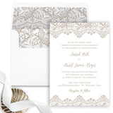 Antique Lace Wedding Invitation - Flat Printing - Sample