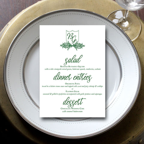 Leaf Wreath Wedding Menu