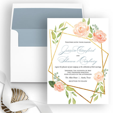 Modern Floral Wedding Invitation - Flat Printing - Sample