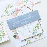 Modern Geometric Floral Wedding Invitation - Flat Printing