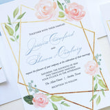 Modern Geometric Floral Wedding Invitation - Flat Printing - Sample