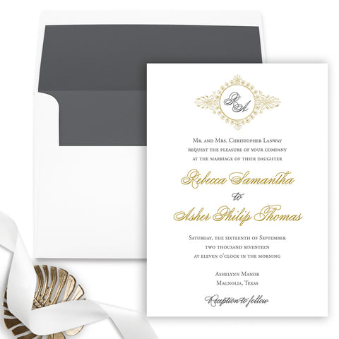 Monogram Wreath Wedding Invitation - Flat Printing - Sample