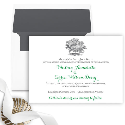 Oak Tree Wedding Invitation - Flat Printing - Sample