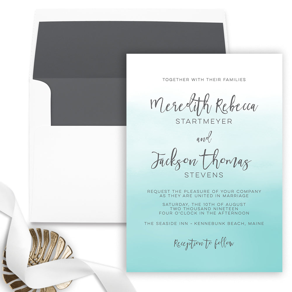 Turquoise Blue Ombre Wedding Invitation - Flat Printing - Sample