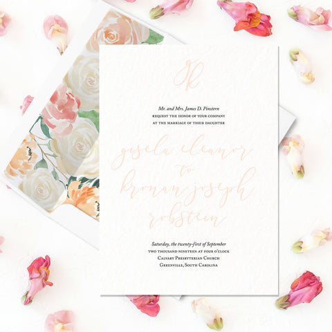 Modern Calligraphy Wedding Invitation - Flat Printing
